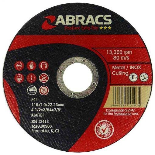 Abracs Proflex Extra Thin Cutting Disc 115mm x 1.0mm INOX Pk25